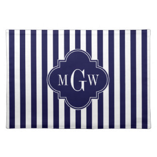 Navy White Stripe Navy Blue Quatrefoil 3 Monogram Placemat