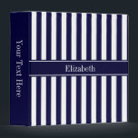"""Navy White Stripe Navy Blue Ribbon Name Monogram 3 Ring Binder<br><div class=""""desc"""">Navy Blue and White Stripe Pattern, Navy Blue Ribbon Name Monogram Label Customize the label with your name, monogram or other text. You can also change the font, adjust font size and font color, move the text, etc. Need this pattern in other colors or designs? Just drop us an email...</div>"""