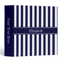 Navy White Stripe Navy Blue Ribbon Name Monogram 3 Ring Binder