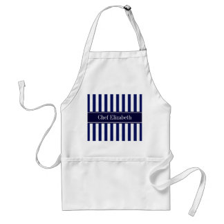 Navy White Stripe Navy Blue Ribbon Name Monogram Adult Apron