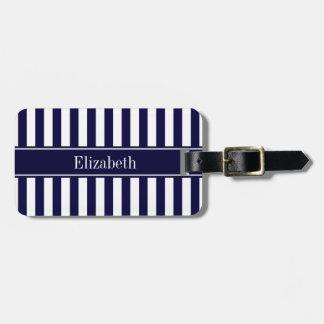 Navy White Stripe Navy Blue Ribbon Name Monogram Bag Tag