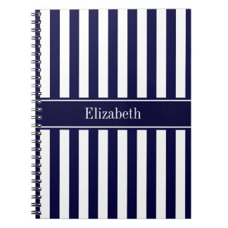 Navy White Stripe Navy Blue Ribbon Name Monogram Notebook