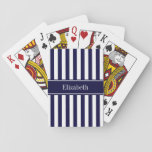 "Navy White Stripe Navy Blue Ribbon Name Monogram Playing Cards<br><div class=""desc"">Navy Blue and White Stripe Pattern, Navy Blue Ribbon Name Monogram Label Customize the label with your name, monogram or other text. You can also change the font, adjust font size and font color, move the text, etc. Need this pattern in other colors or designs? Just drop us an email...</div>"