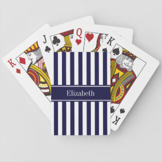 Navy White Stripe Navy Blue Ribbon Name Monogram Playing Cards