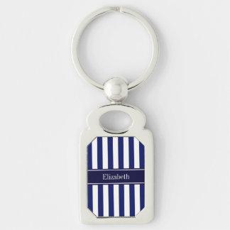 Navy White Stripe Navy Blue Ribbon Name Monogram Silver-Colored Rectangular Metal Keychain