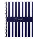 Navy White Stripe Navy Blue Ribbon Name Monogram Spiral Notebook