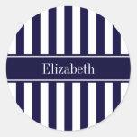 Navy White Stripe Navy Blue Ribbon Name Monogram Sticker