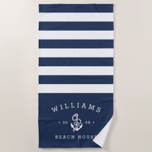 Navy White Stripe Personalized Beach House Towel