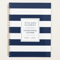Navy & White Stripe Personalized Homeschool Planner