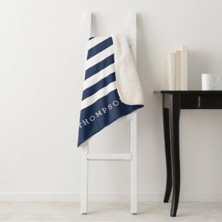 Navy & White Stripe Personalized Sherpa Blanket