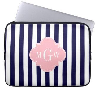 Navy White Stripe Pink Quatrefoil 3 Monogram Laptop Sleeve