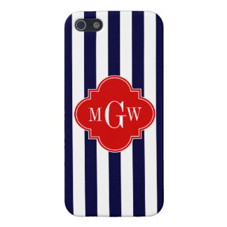 Navy White Stripe Red Quatrefoil 3 Monogram Covers For iPhone 5