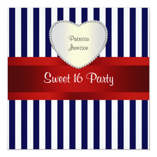 Navy White Stripe Red Ribbon Sweet 16 Party P Card