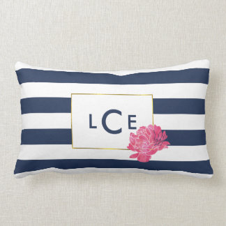 Navy & White Stripe w/ Pink Peony | Monogram Lumbar Pillow