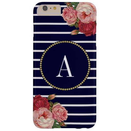 Navy White Striped Chic Floral Gold Monogram Barely There iPhone 6 Plus Case