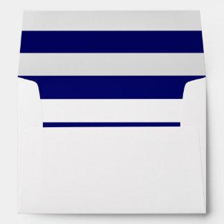 Navy White Striped Return Address Custom Envelope
