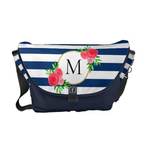 Navy White Stripes Coral Floral Monogram Medium Courier Bag
