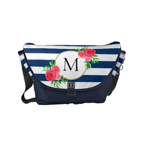 Navy White Stripes Fun Coral Floral Monogram Small Small Messenger Bag