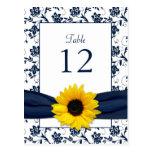 Navy White Sunflower Damask Wedding Table Card