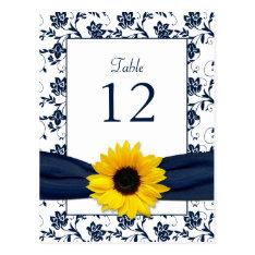 Navy White Sunflower Damask Wedding Table Card at Zazzle