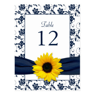 Navy White Sunflower Damask Wedding Table Card