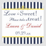 Navy, White, Yellow, Red Striped Favor Sticker