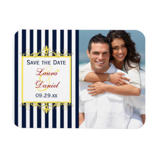 Navy White Yellow Red Striped Save the Date Magnet