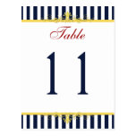 Navy, White, Yellow, Red Striped Table Number Postcards