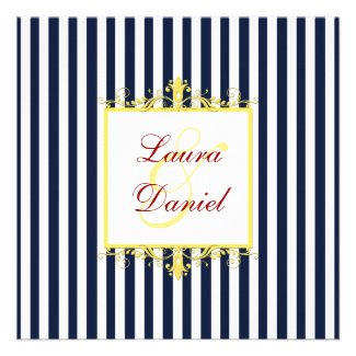 Navy, White, Yellow, Red Stripes & Scrolls Invite