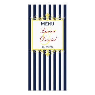 Navy White Yellow Red Stripes, Scrolls Menu Card Custom Rack Cards