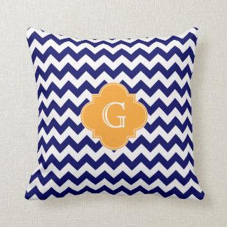 Navy Wht Chevron Cantaloupe Quatrefoil Monogram Pillows