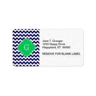 Navy Wht Chevron Emerald Green Quatrefoil Monogram Label