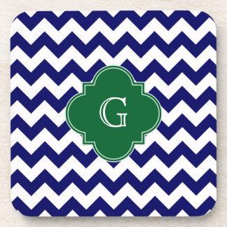 Navy Wht Chevron Forest Green Quatrefoil Monogram Drink Coaster