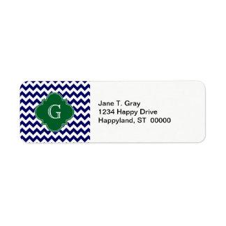 Navy Wht Chevron Forest Green Quatrefoil Monogram Label