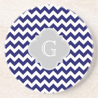 Navy Wht Chevron Gray Quatrefoil Monogram Sandstone Coaster