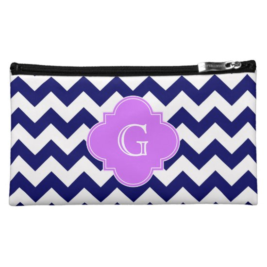 Navy Wht Chevron Lilac Purple Quatrefoil Monogram Makeup Bag