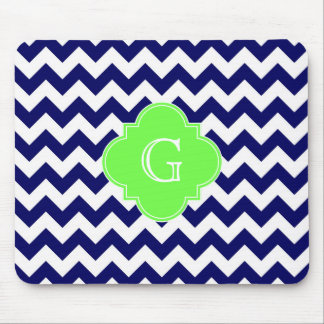 Navy Wht Chevron Lime Green Quatrefoil Monogram Mouse Pad