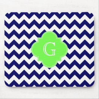 Navy Wht Chevron Lime Green Quatrefoil Monogram Mouse Pad