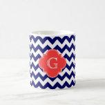 Navy Wht Chevron Zigzag Coral Quatrefoil Monogram Mug