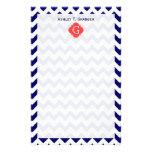 Navy Wht Chevron Zigzag Coral Quatrefoil Monogram Stationery