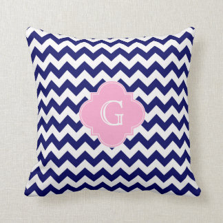 Navy Wht Chevron ZigZag Pink Quatrefoil Monogram Throw Pillow