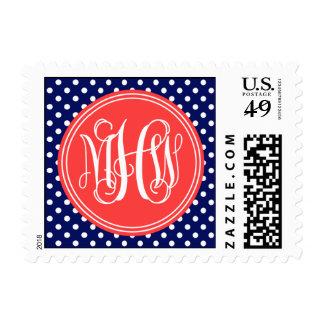 Navy Wht Dot Coral Red 3 Init Vine Script Monogram Postage Stamps