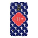 Navy Wht Fleur de Lis Coral Red 3 Initial Monogram Galaxy S5 Case