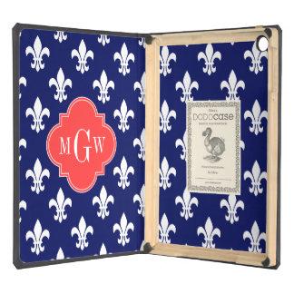 Navy Wht Fleur de Lis Coral Red 3 Initial Monogram iPad Air Cover