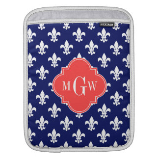 Navy Wht Fleur de Lis Coral Red 3 Initial Monogram Sleeve For iPads