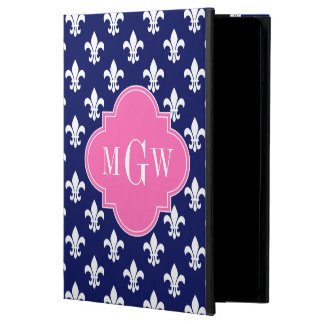 Navy Wht Fleur de Lis Hot Pink 3 Initial Monogram Powis iPad Air 2 Case