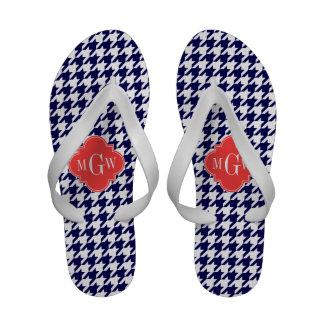 Navy Wht Houndstooth Coral Quatrefoil 3 Monogram Flip Flops