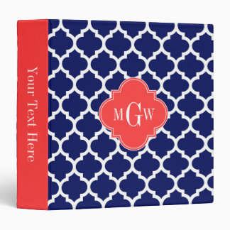 Navy Wht Moroccan #5 Coral Red 3 Initial Monogram 3 Ring Binder