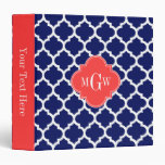 Navy Wht Moroccan #5 Coral Red 3 Initial Monogram Binder