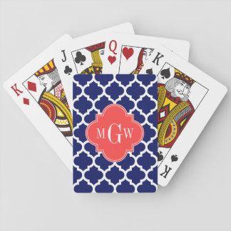 Navy Wht Moroccan #5 Coral Red 3 Initial Monogram Card Decks